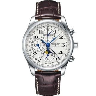 【LONGINES】浪琴 巨擘系列全日曆月相計時碼錶-銀x咖啡/42mm(L27734783)