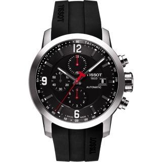 【TISSOT】T-Sport PRC200 競速三眼計時機械腕錶-黑(T0554271705700)