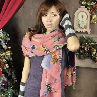 【Lady c.c.】墨繪欉林鳥獸旋舞圍巾(紅)