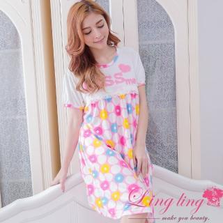 【lingling日系】PA2907全尺碼-蕾絲圓點立體英字哺乳孕婦連身裙睡衣(元氣粉)