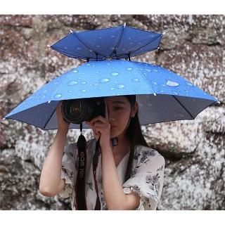 【EZlife】雙層防風防雨防曬傘帽