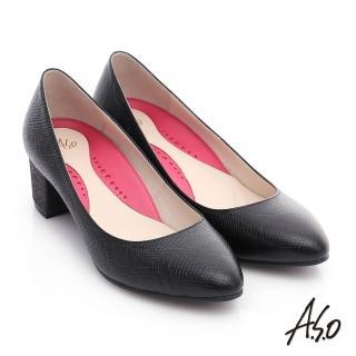 【A.S.O】職場女力 壓紋牛皮粗跟高跟鞋(黑)