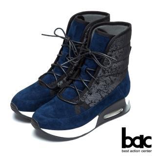 【bac】休閒時尚 異材質混搭休閒短靴(藍色)