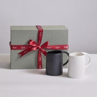 【3 co】水波馬克杯禮盒組 -  白+黑(2件式)
