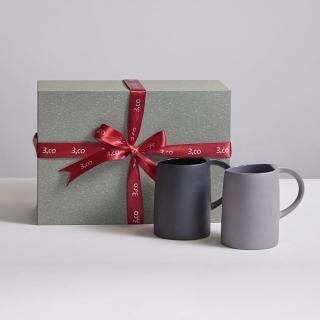 【3 co】水波馬克杯禮盒組 -  灰+黑(2件式)