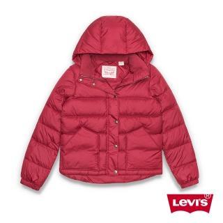 【Levis】女款羽絨外套 銅扣拉鍊 紅色