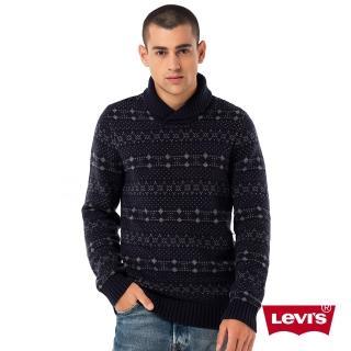 【Levis】男款圓領羊毛毛衣 / 圖騰 / 點點 / 深藍