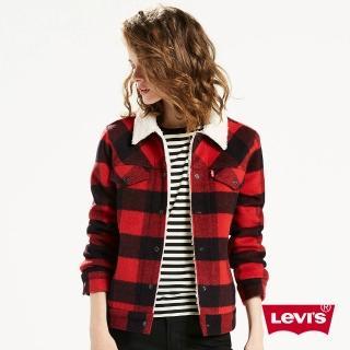 【Levis】女款修身羊毛外套 / 格紋 / 紅黑
