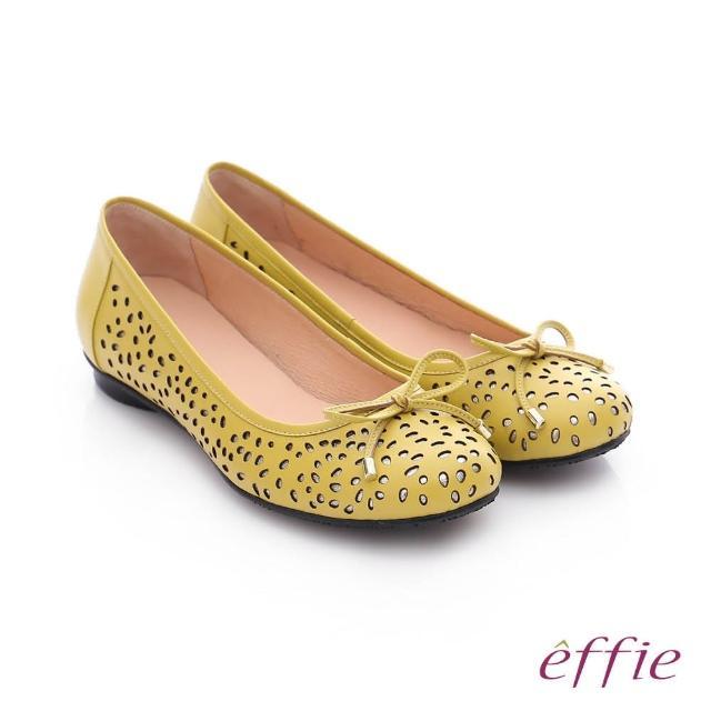 【effie】都會舒適 全真皮鏤空金箔蝴蝶結飾平底鞋(黃)