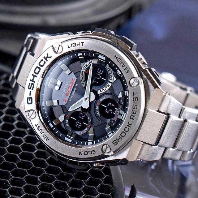 【G-SHOCK】強悍太陽能雙顯運動錶-銀(GST-S110D-1ADR)