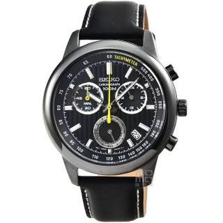 【SEIKO】精工三眼計時皮帶錶-IP黑框(SSB213P1)