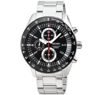 【SEIKO】精工三眼計時賽車錶-IP黑框(SNDB73P1)