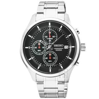 【SEIKO】精工三眼計時賽車錶-黑(SKS539P1)