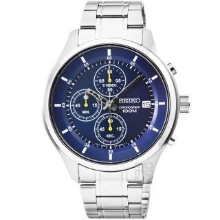 【SEIKO】精工三眼計時賽車錶-藍(SKS537P1)