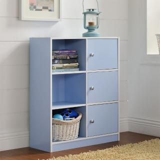 【FUN生活】DIY弗雷六格三門櫃/書櫃/置物櫃/收納櫃(藍色/粉色)