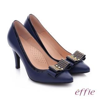 【effie】耀眼女伶 真皮拼接金屬鉚釘蝴蝶結高跟鞋(藍)
