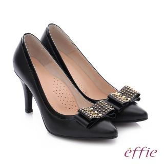【effie】耀眼女伶 真皮拼接金屬鉚釘蝴蝶結高跟鞋(黑)