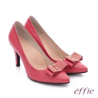 【effie】耀眼女伶 真皮拼接金屬鉚釘蝴蝶結高跟鞋(桃粉紅)