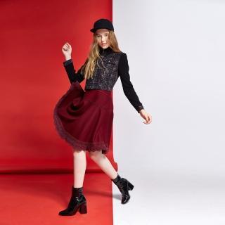 【ICHE 衣哲】羊毛蕾絲傘擺膝下中長裙
