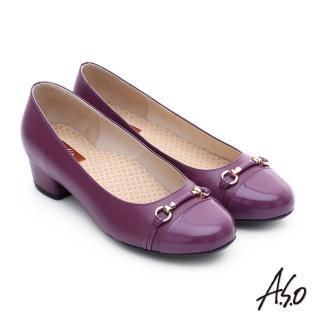 【A.S.O】3E舒活寬楦 全牛皮飾帶窩心奈米低跟鞋(紫紅)