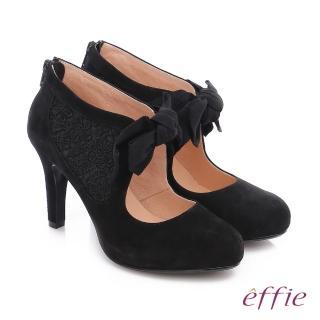【effie】耀眼女伶 絨面羊皮拼接蝴蝶蕾絲高跟鞋(黑)
