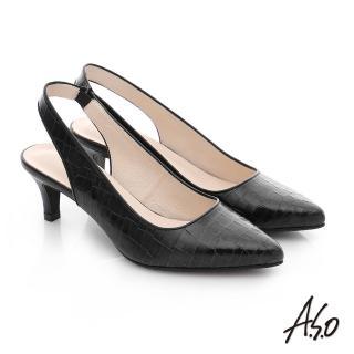 【A.S.O】A.S.O 壓紋牛皮前包後空靜音高跟鞋(黑)