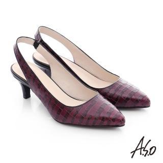 【A.S.O】A.S.O 壓紋牛皮前包後空靜音高跟鞋(酒紅)