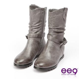 【ee9】經典手工-2WAY都會優雅金屬扣環繫帶百搭內增高中筒靴-灰色(中筒靴)
