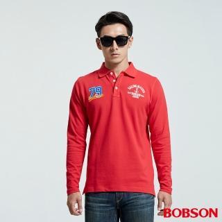 【BOBSON】男款繡標POLO上衣(紅35027-13)