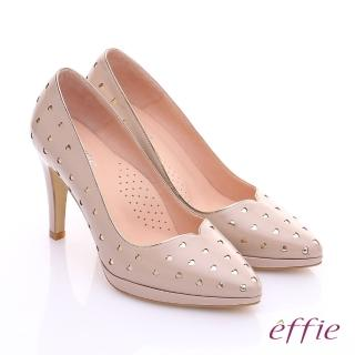 【effie】摩登美型 鏡面牛皮金箔愛心窩心高跟鞋(膚)