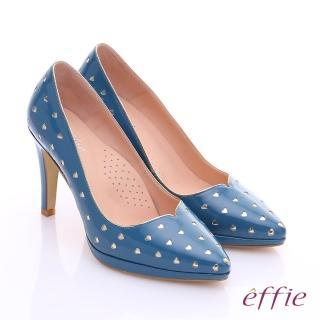 【effie】摩登美型 鏡面牛皮金箔愛心窩心高跟鞋(藍)