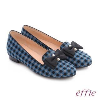 【effie】都會舒適 全真皮豔彩格紋拼接珍珠蝴蝶低跟鞋(藍)