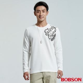 【BOBSON】男款彈性印圖上衣(白35044-80)