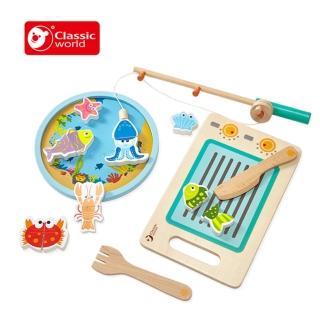 【Classic world 德國經典木玩 客來喜】磁性釣魚切切樂