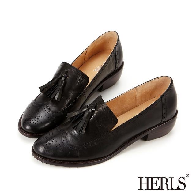 【HERLS】全真皮雕花流蘇樂福低跟鞋(黑色)