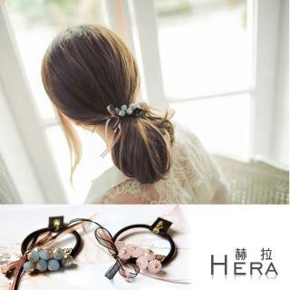【Hera】手工水晶串珠蝴蝶結髮圈/髮束(兩色)
