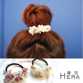 【Hera】手工珍珠串珠小玫瑰髮圈/髮束(兩色)
