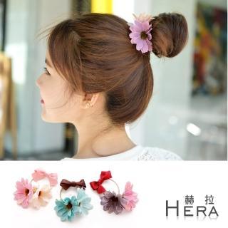 【Hera】撞色雙花朵蝴蝶結髮圈/髮束(3色)