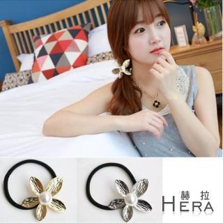 【Hera】壓紋珍珠五葉花朵髮圈/髮束(兩色)