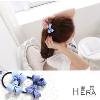 【Hera】點點牛仔布蝴蝶結髮圈/髮束(兩色)