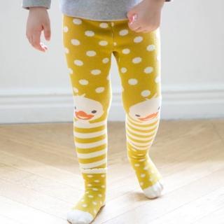 【韓國 BebeZoo】彈性屁屁圖案內搭褲+襪子 2入套組 - 黃色點點小鴨
