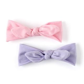 【美國 Joli Sophie】彈性棉質蝴蝶結嬰兒髮帶2入組 - 素色粉紫(JSHB2PPKL)