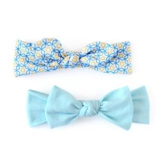【美國 Joli Sophie】彈性棉質蝴蝶結嬰兒髮帶2入組 - 天藍/藍黃萬花筒(JSHBBBBS0)