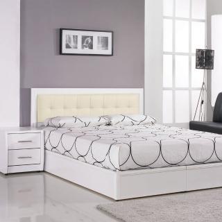 【樂和居】由莉純白5尺雙人三件組(床頭片.床板.床頭櫃三件組)