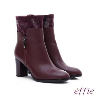 【effie】保暖靴 牛皮拼接絨布閃亮水鑽拉鍊中筒靴(酒紅)