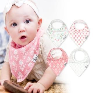【美國 Copper Pearl】雙面領巾造型圍兜口水巾4件組 - 粉綠清新圓點花草(快速到貨)