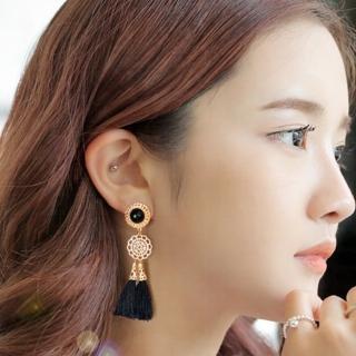 【梨花HaNA】無耳洞韓國華麗民族雕花黑流蘇耳環夾式輕不痛
