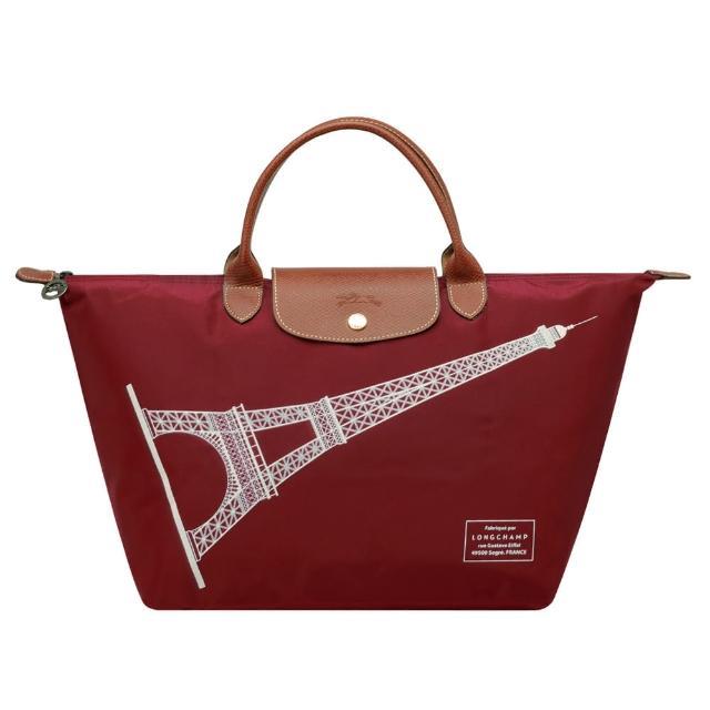 【LONGCHAMP】巴黎鐵塔紀念款拉鍊摺疊短把購物包(中-酒紅1623346-C87)