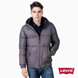 【Levis】男款連帽厚羽絨外套 / 紳士灰 / 壓紋 - Levis
