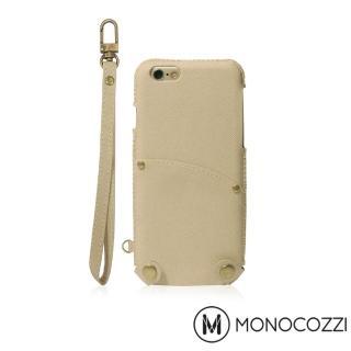 【MONOCOZZI】Posh iPhone 7 掛繩口袋皮套(奶油棕)